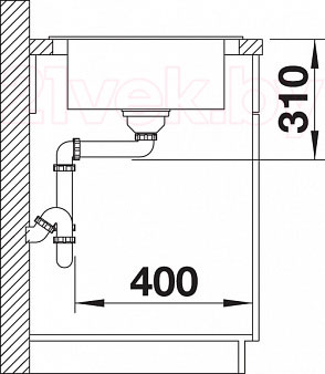 Мойка кухонная Blanco Tamos 45S (519466) - монтажные размеры