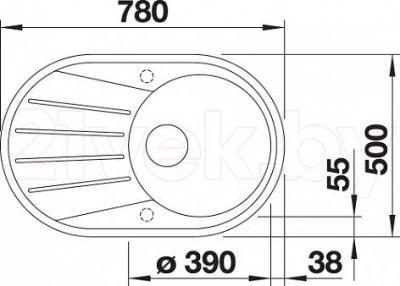 Мойка кухонная Blanco Tamos 45S / 519468 - габаритные размеры