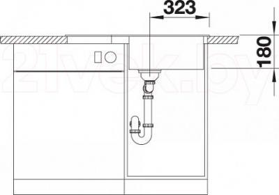 Мойка кухонная Blanco Tamos 45S / 519468 - монтажные размеры