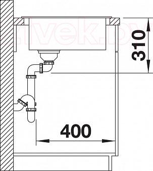Мойка кухонная Blanco Legra 9E (519179) - монтажные размеры