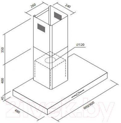 Вытяжка Т-образная Zorg Technology Classic (90) - габаритные размеры