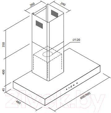Вытяжка Т-образная Zorg Technology Etna (60, черный) - габаритные размеры