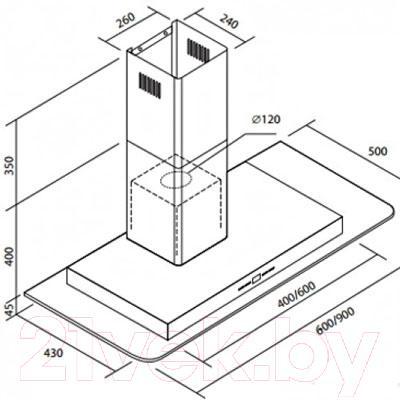 Вытяжка Т-образная Zorg Technology Optima Glass (90) - габаритные размеры
