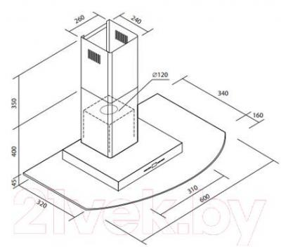 Вытяжка Т-образная Zorg Technology Rivera (60) - габаритные размеры