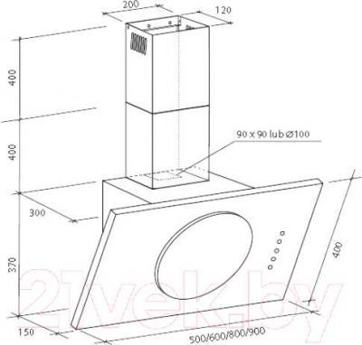 Вытяжка декоративная Zorg Technology Solar Sprint (60, белый) - габаритные размеры