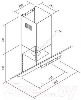 Вытяжка декоративная Zorg Technology Viva Glass (60, нержавеющая сталь) - габаритные размеры