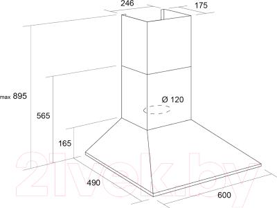 Вытяжка купольная Pyramida KS 60 Black/U - схема вытяжки и размеры