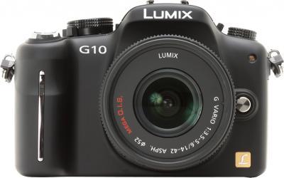 Беззеркальный фотоаппарат Panasonic Lumix DMC-G10KGC-K - вид спереди