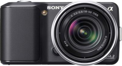 Беззеркальный фотоаппарат Sony Alpha NEX-3K Black - вид спереди