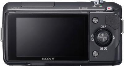 Беззеркальный фотоаппарат Sony Alpha NEX-3K Black - вид сзади