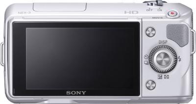 Беззеркальный фотоаппарат Sony Alpha NEX-3K Silver - вид сзади