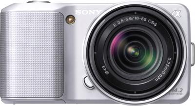 Беззеркальный фотоаппарат Sony Alpha NEX-3K Silver - вид спереди