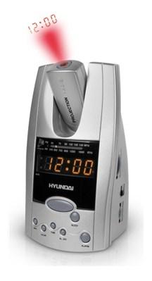 Радиочасы Hyundai H-1506  (Silver-Orange) - общий вид с проекцией времени