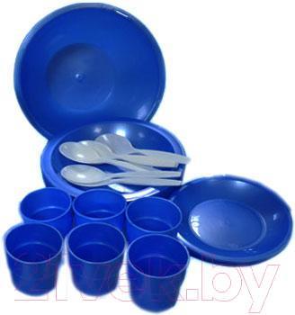 Набор пластиковой посуды Белпласт Пикник 2 с395-2830 (зеленый) - реальный цвет набора - зеленый