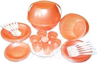 Набор пластиковой посуды Белпласт Пикник с215-2830 (оранжевый)