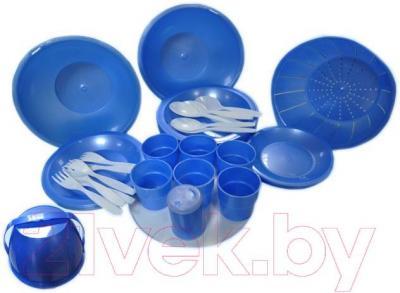 Набор пластиковой посуды Белпласт Пикник с215-2830 (розовый) - реальный цвет набора - розовый