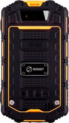 Смартфон Senseit R390 (желтый) - вид сзади