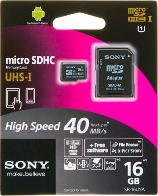 Карта памяти Sony microSDHC UHS-I (Class 10) 16GB + адаптер (SR16UYAT) - общий вид