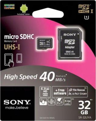 Карта памяти Sony microSDHC UHS-I (Class 10) 32GB + адаптер (SR32UYAT) - общий вид