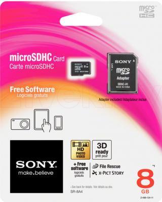 Карта памяти Sony microSDHC (Class 4) 8GB + адаптер (SR8A4T) - общий вид