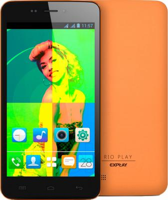 Смартфон Explay Rio Play (оранжевый) - с задней панелью
