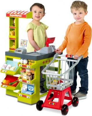 Игровой набор Smoby Интерактивный Супермаркет с тележкой для продуктов (024189) - дети с игрушкой
