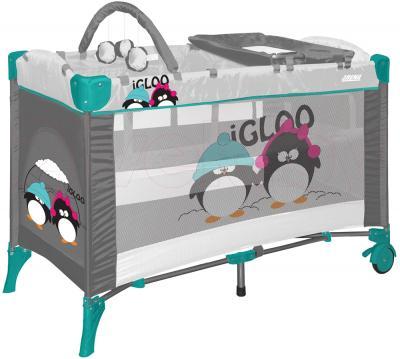 Кровать-манеж Lorelli Arena 2 Layers Plus (Gray Green Igloo) - общий вид