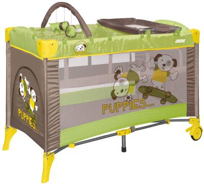 Кровать-манеж Lorelli Arena 2 Layers Plus (Green Beige Puppies) - общий вид