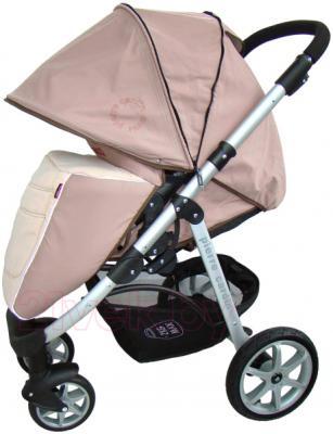 Детская универсальная коляска Pierre Cardin PS687 3 в 1 (коричневый) - с опущенным козырьком