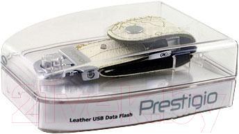 Usb flash накопитель Prestigio Leather Flash White 8GB (PLDF08MPWHA) - упаковка