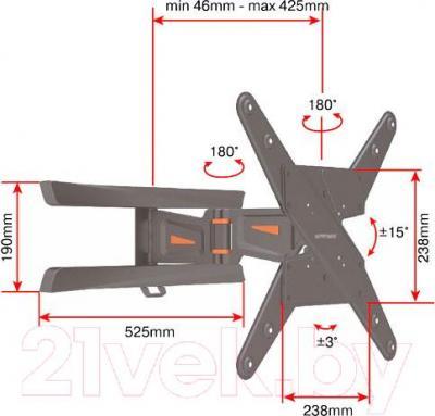 Кронштейн для телевизора Arm Media PT-12.B - габариитные размеры