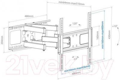 Кронштейн для телевизора Arm Media PT-21.B - габаритные размеры