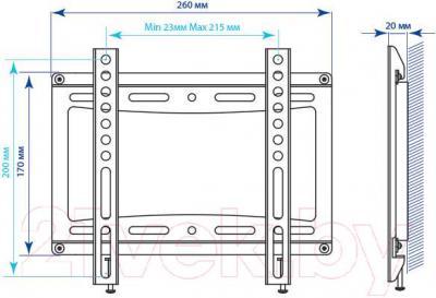 Кронштейн для телевизора Kromax Ideal-5 (темно-серый) - габаритные размеры