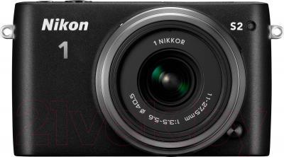 Беззеркальный фотоаппарат Nikon 1 S2 Kit 11-27.5mm (Black) - вид спереди