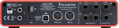 Аудиоинтерфейс Focusrite Scarlett 6i6 - вид сзади