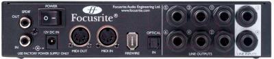 Аудиоинтерфейс Focusrite Saffire Pro 24 - входы/выходы