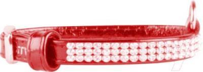 Ошейник Collar Brilliance 31483 (S, красный, с украшением) - общий вид