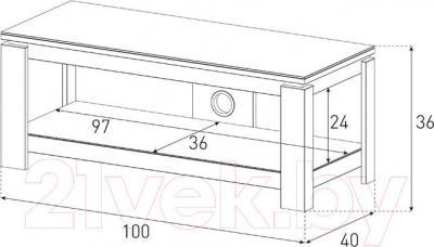 Стойка для ТВ/аппаратуры Sonorous HG 1020-BLK - габаритные размеры