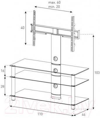 Стойка для ТВ/аппаратуры Sonorous NEO 1103-B-SLV - габаритные размеры