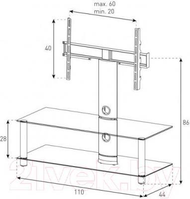 Стойка для ТВ/аппаратуры Sonorous NEO 110-B-SLV - габаритные размеры