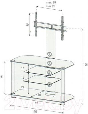 Стойка для ТВ/аппаратуры Sonorous NEO 1114-B-HBLK - габаритные размеры