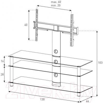 Стойка для ТВ/аппаратуры Sonorous NEO 1303-C-SLV - габаритные размеры