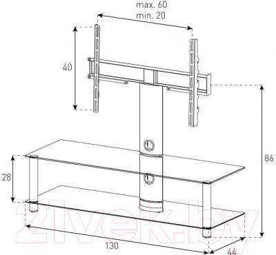 Стойка для ТВ/аппаратуры Sonorous NEO 130-C-SLV - габаритные размеры