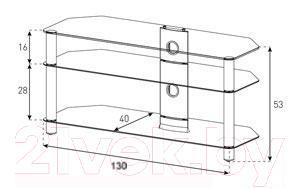 Стойка для ТВ/аппаратуры Sonorous NEO 3130-B-SLV - габаритные размеры