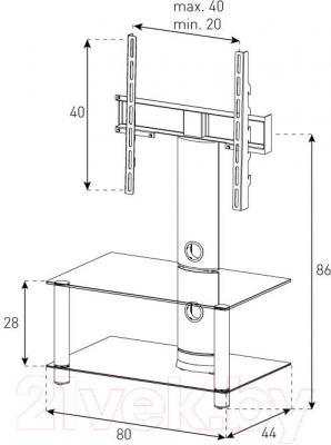 Стойка для ТВ/аппаратуры Sonorous NEO 80-B-SLV - габаритные размеры