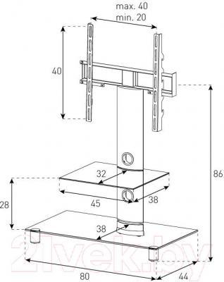 Стойка для ТВ/аппаратуры Sonorous NEO 81-B-SLV - габаритные размеры