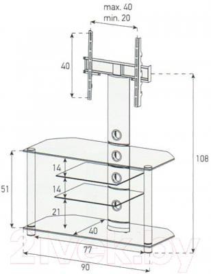 Стойка для ТВ/аппаратуры Sonorous NEO 914-B-HBLK - габаритные размеры