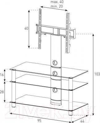 Стойка для ТВ/аппаратуры Sonorous NEO 953-C-SLV - габаритные размеры