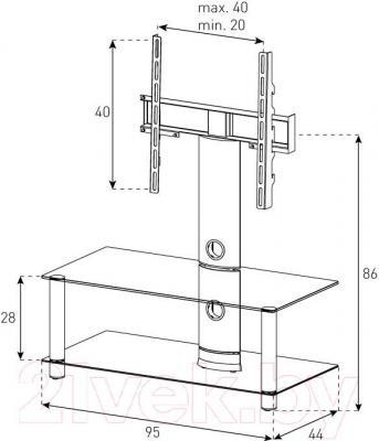 Стойка для ТВ/аппаратуры Sonorous NEO 95-B-SLV - габаритные размеры