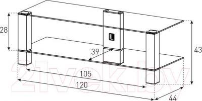 Стойка для ТВ/аппаратуры Sonorous PL 3410-B-HBLK - габаритные размеры
